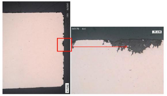 """Figur 2. Omfattande kopparkorrosion och gropfrätning i FEBEX-försöket. (Källa:""""FEBEX-DP Metal Corrosion and Iron-Bentonite Interaction Studies, P. Wersin & F. Kober, NAB 16-16, Nagra October 2017)."""
